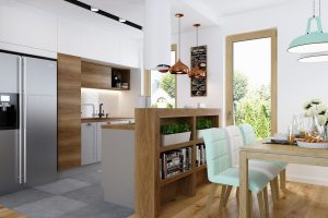 kuchnia otwarta na salon - projekt od APP Proste Wnetrze